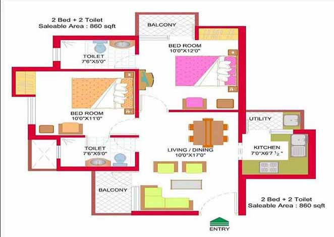 nimbus hyde park floor plan 2 BHK 860 Sq ft