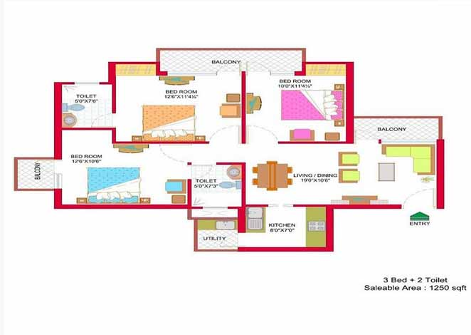 nimbus hyde park floor plan 3 BHK 1250 Sq ft