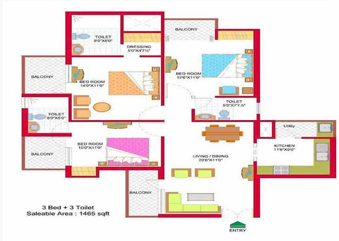 nimbus hyde park floor plan 3 BHK 1465 Sq ft