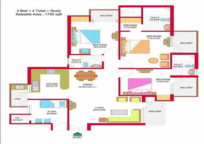 nymbus hyde park floor plan 3 BHK 1750 Sq ft