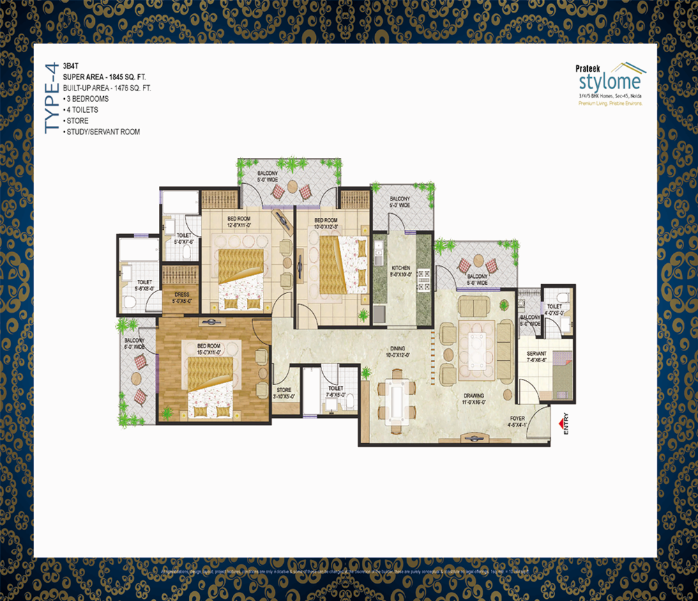 prateek stylome floor plan 3 BHK 1845sq ft