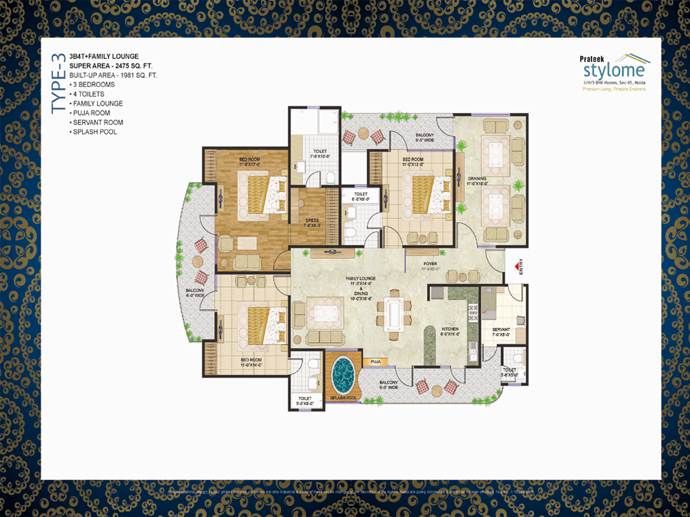 prateek stylome floor plan 3 BHK 2475sq ft