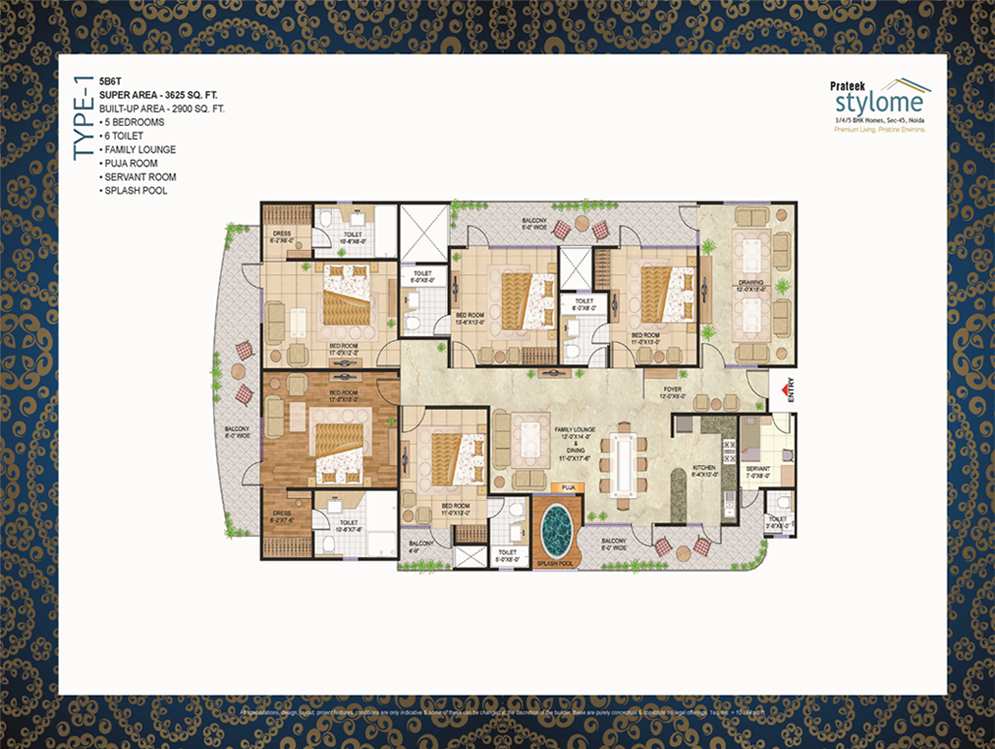 prateek stylome floor plan 5 BHK 3625sq ft