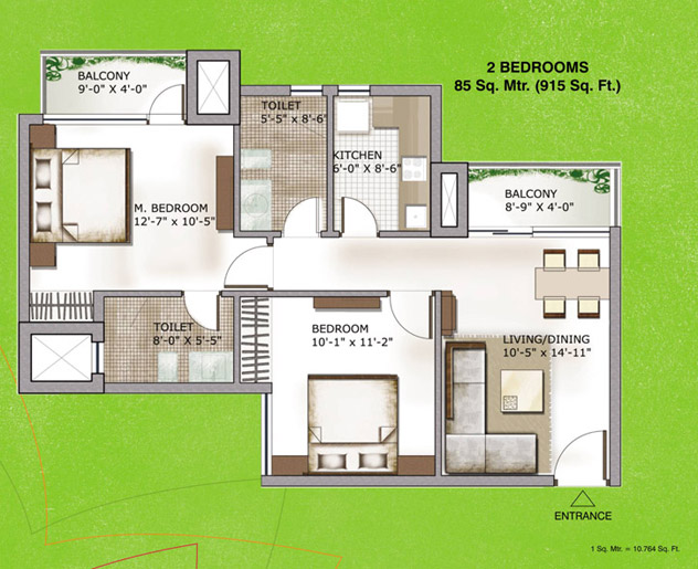 3c lotus zing floor plan 2bhk 915 sqr ft