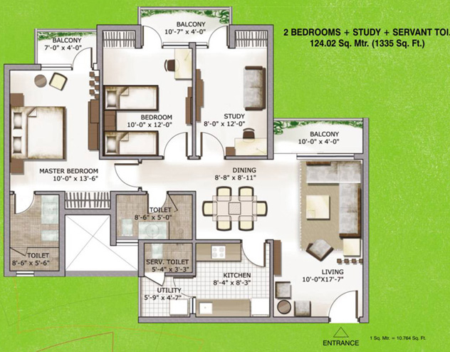 3c lotus zing floor plan 2bhk study room servant room 1335 sqr ft