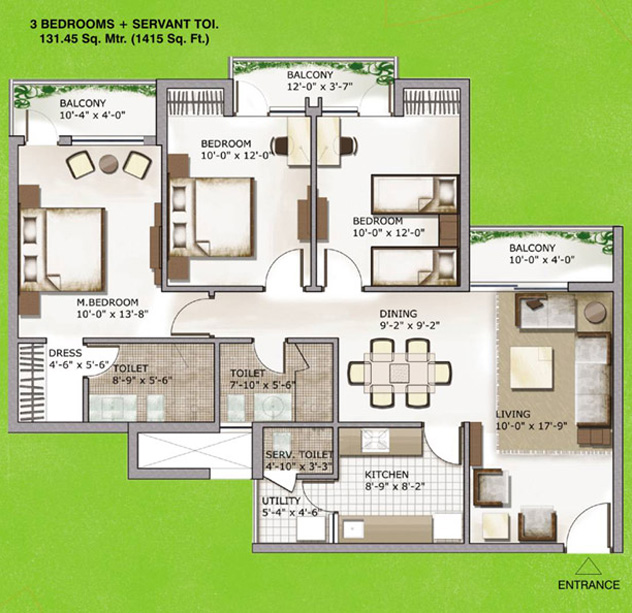 3c lotus zing floor plan. 3bhk servant room 1415 sqr ft