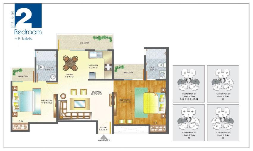 Amrapali Pan Oasis floor plan 2bhk 2toilet
