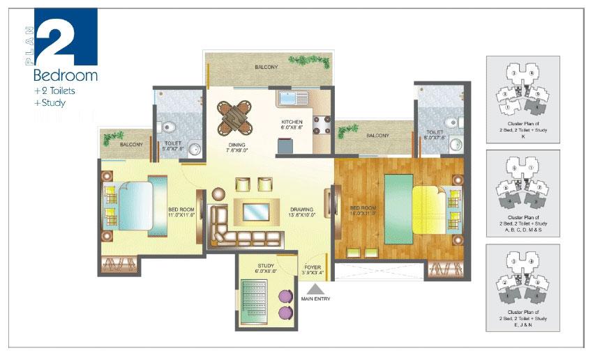 Amrapali Pan Oasis floor plan 2bhk-2toilet