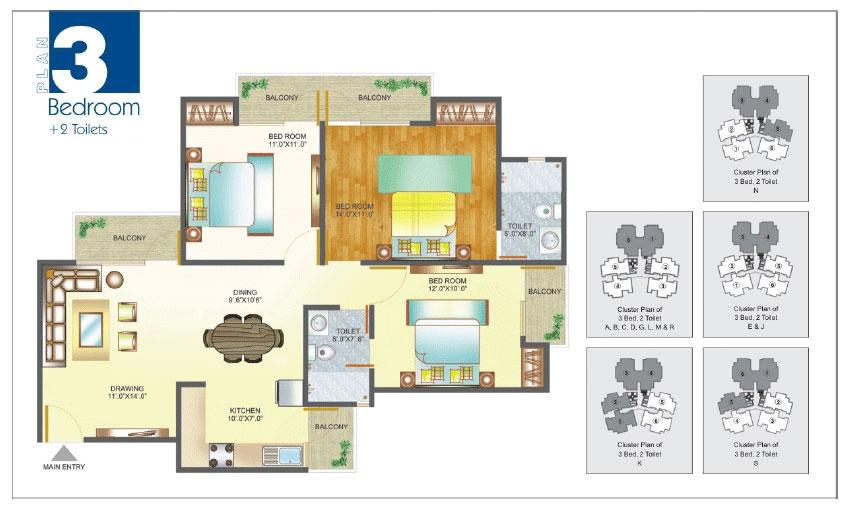 Amrapali Pan Oasis floor plan 3bhk 2toilet