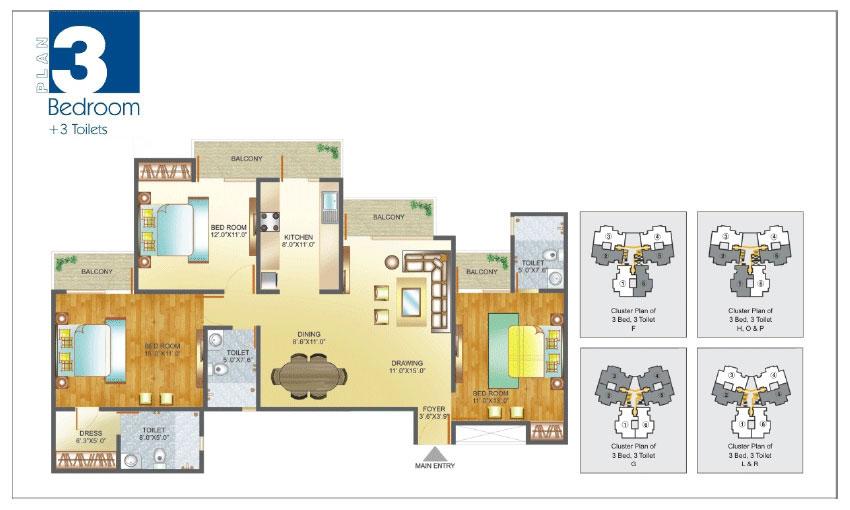 Amrapali Pan Oasis floor plan 3bhk 3toilet