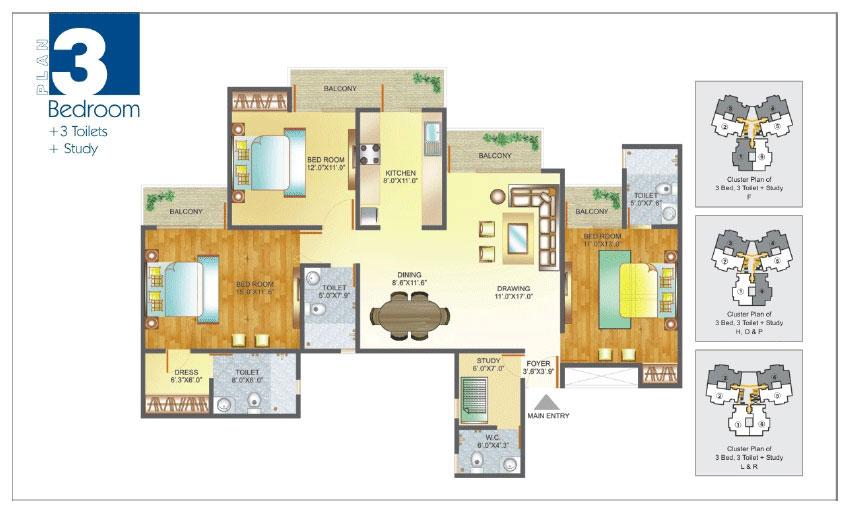 Amrapali Pan Oasis floor plan 3bhk 3toilket