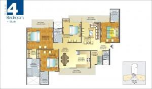 Amrapali Pan Oasis floor plan 4bhk 4toilet