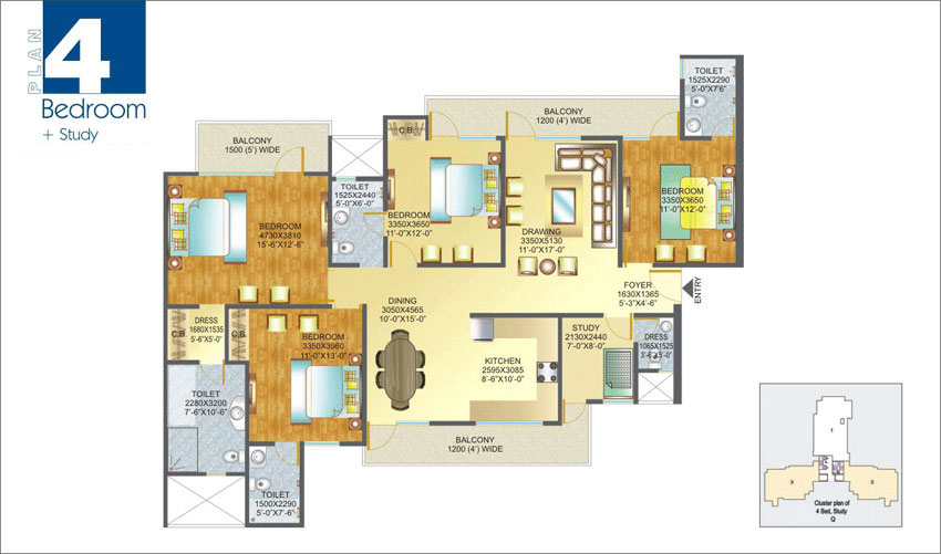 Amrapali Pan Oasis floor plan 4bhk 4toilet