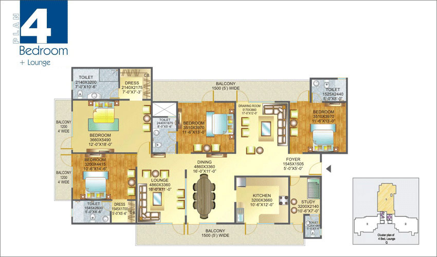 Amrapali Pan Oasis floor plan 4bhk 5toilet