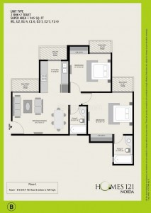 agc homes 2 BR 2 Toilet 945sqr ft floor plan