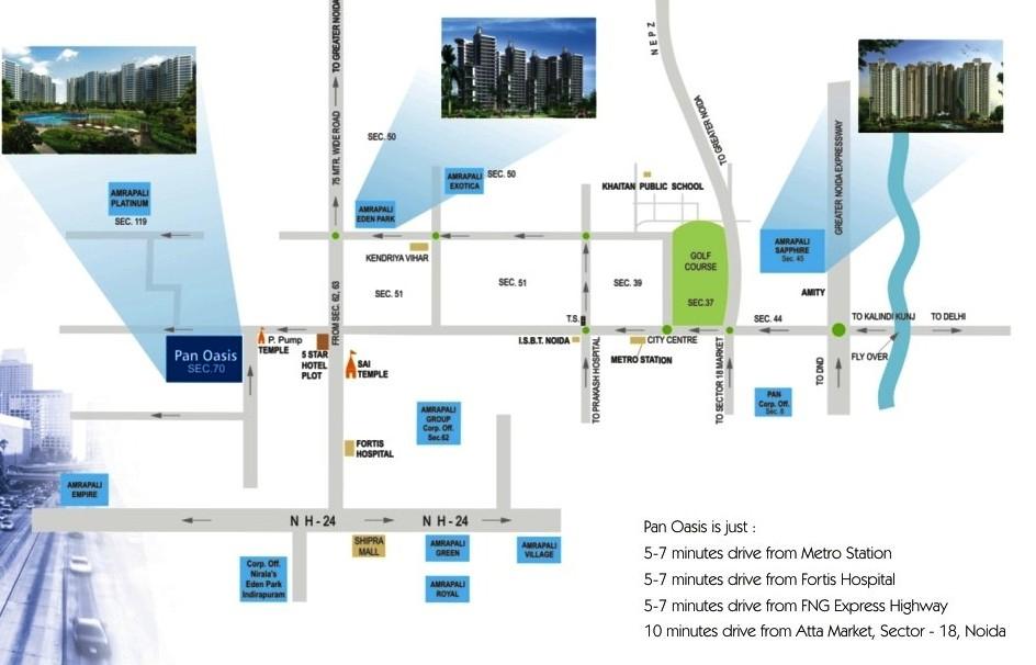 amrapali pan oasis location map