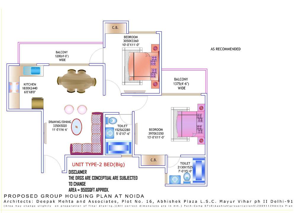 amrapali zodiac floor plan 2bhk 2toilet