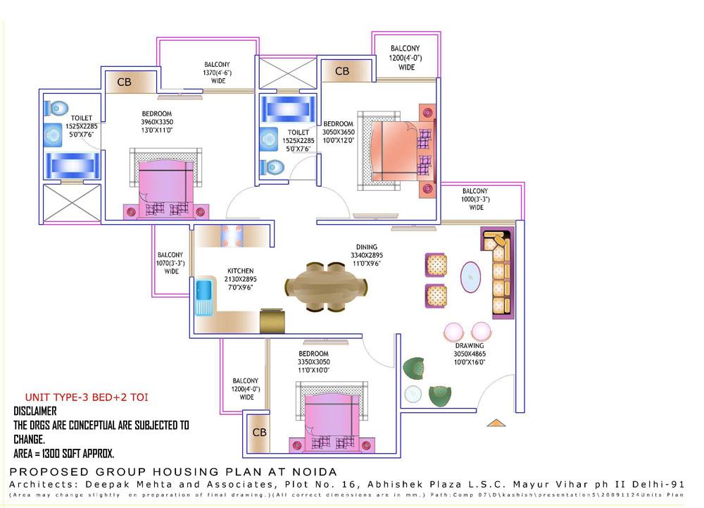 amrapali zodiac floor plan 3bhk 2toilet