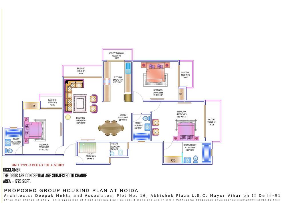 amrapali zodiac floor plan 3bhk 3toilet