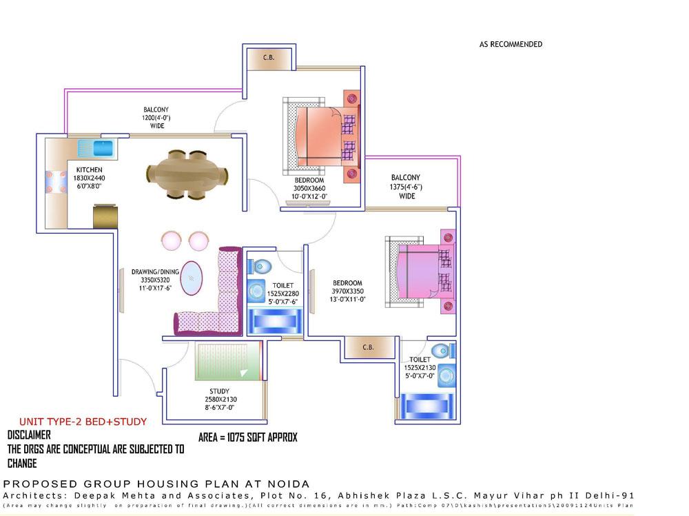 amrapali zodiac floor plan2bhk 2toilet