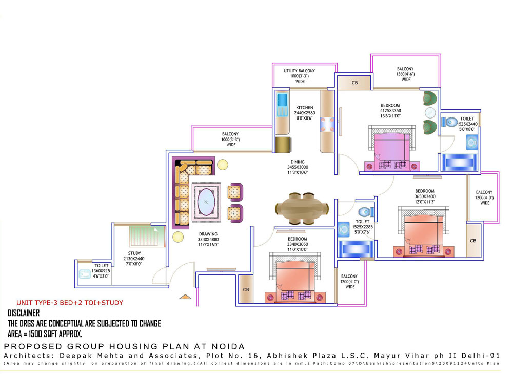 amrapali zodiac floor plan3bhk 2toilet