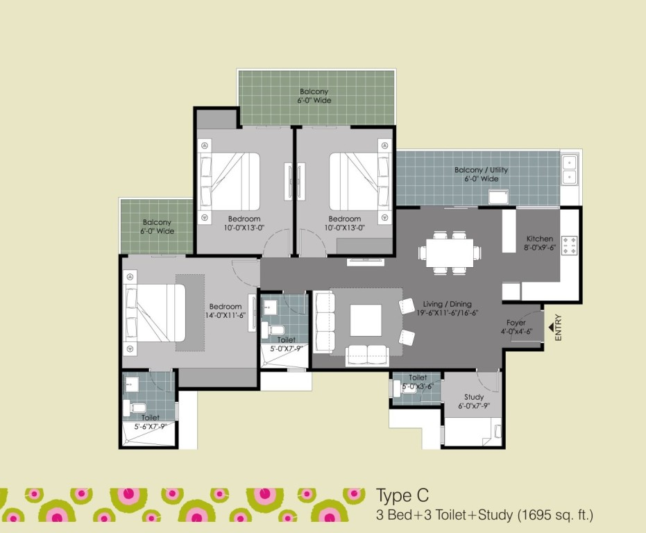 gulshan ikebana 3bed 3toilet study room 1695 sqr ft
