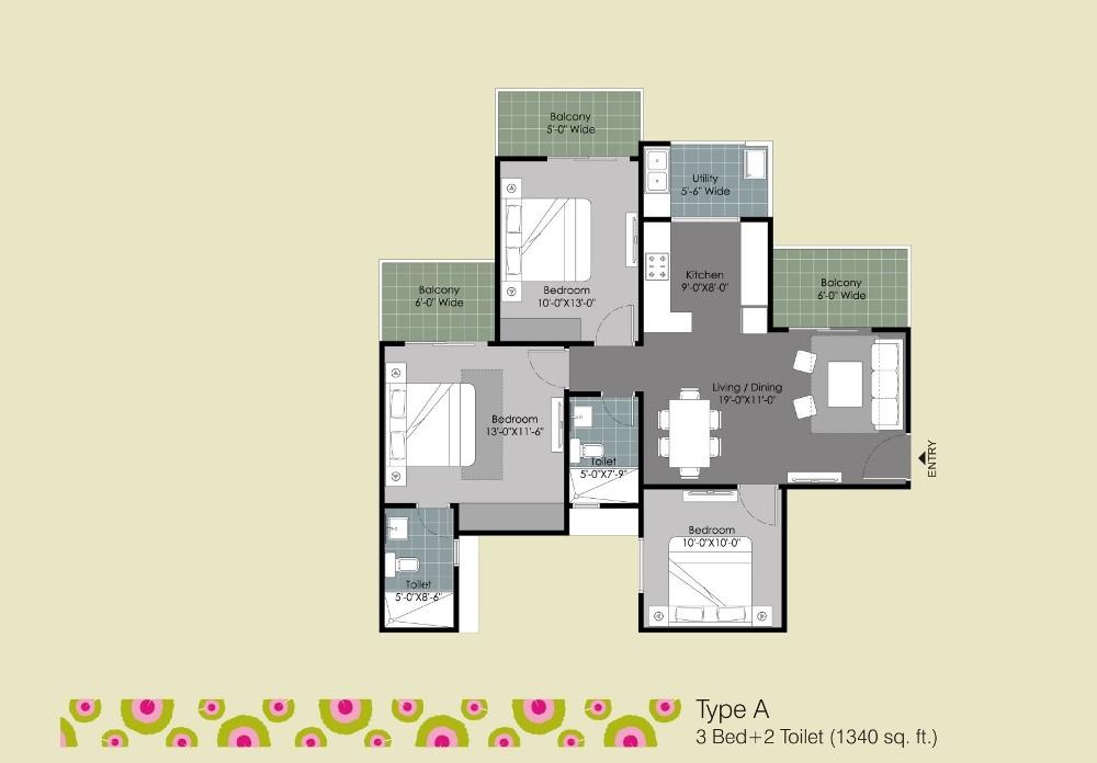 gulshan ikebana floor plan 3b0bhk  2toilet 1340 sqr ft