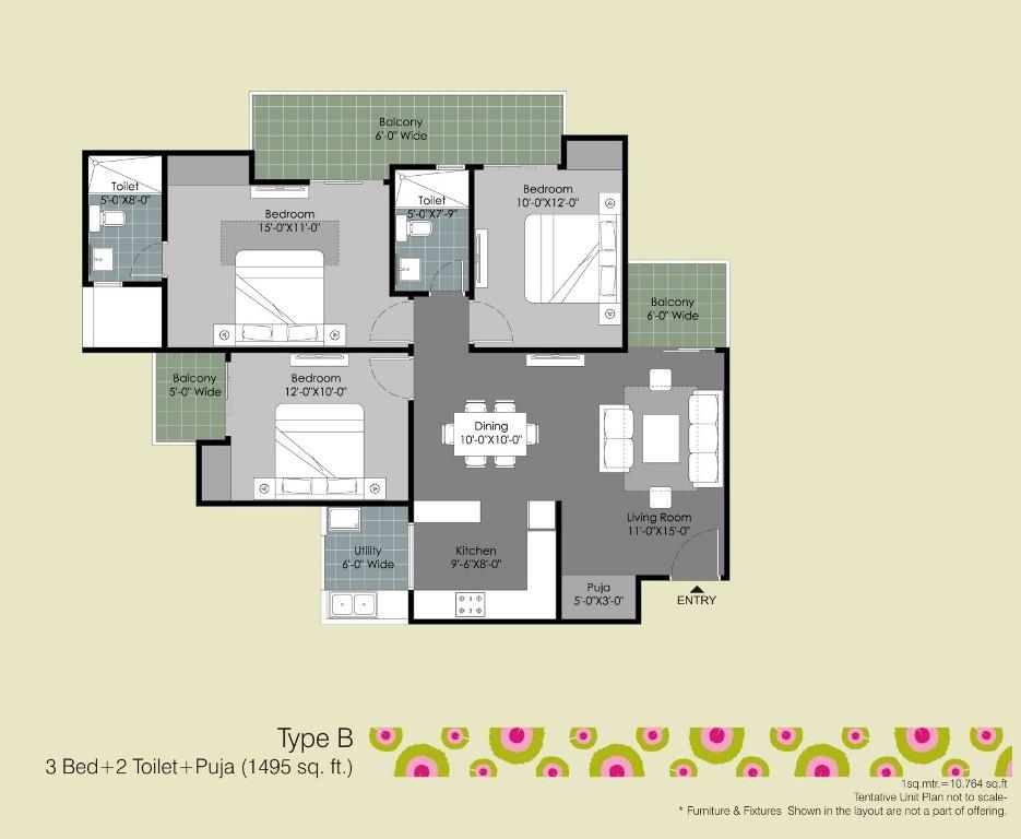 gulshan ikebana floor plan 3bhk 2toilet 1495 sqr ft