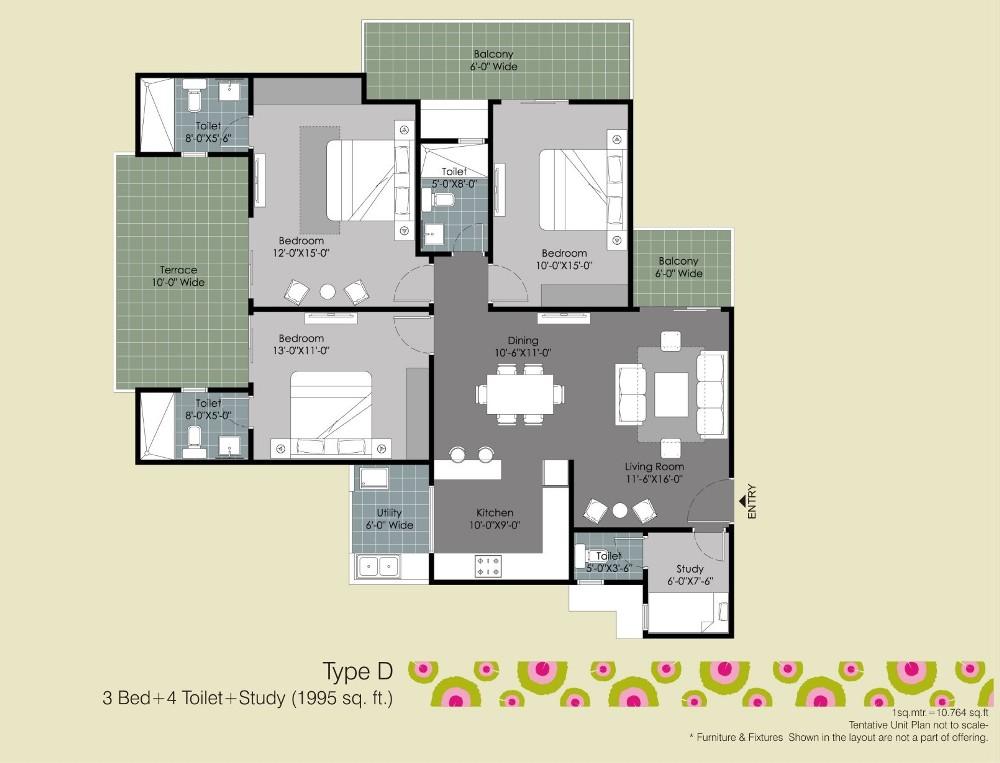 gulshan ikebana floor plan3bhk 4toilet study room 1995 sqr ft