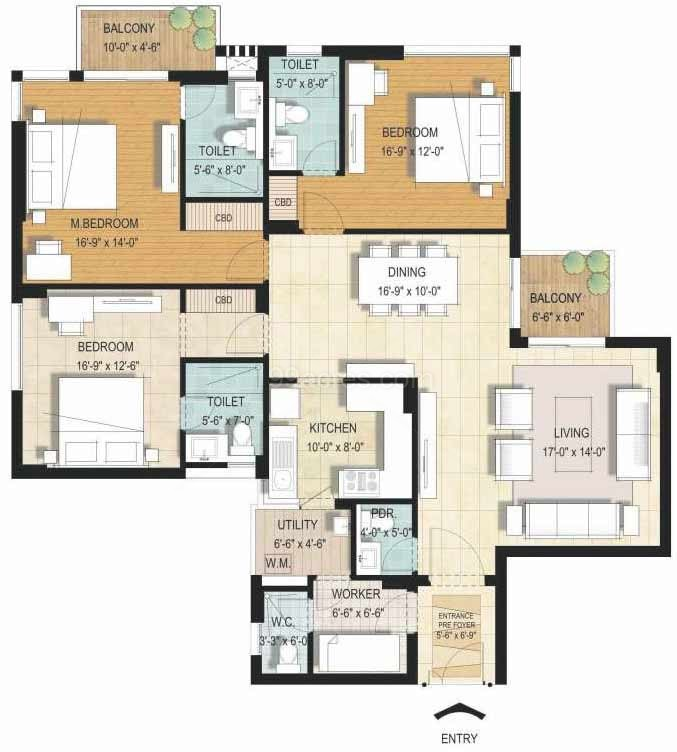 jaypee greens orchards floor plan 3bhk  servant room 1798 sqr ft