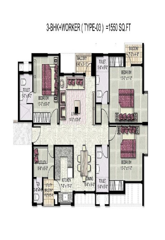 kensington park floor paln 3bhk  worker 1550 sqr ft