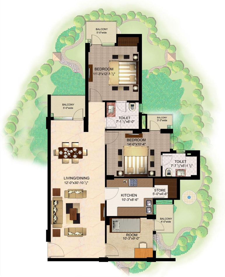 Logix blossom county floor plan 2bh 2toilets 1350 sqr ft for 2bh house plans