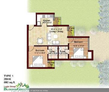 logix blossom greens floor plan 2BHK 880 sqr ft