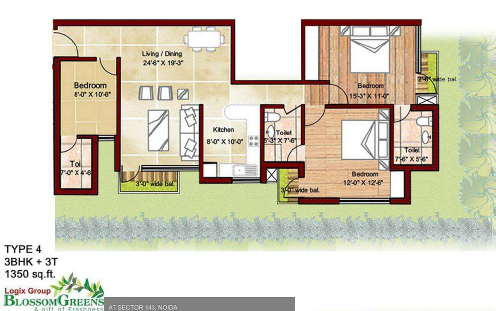 logix blossom greens floor plan3bhk 1350 sqft`