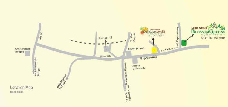logix blossom greens location map