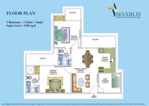 maxblis white house floor plan 2 Bhk 2Toilet 1185 sqr ft