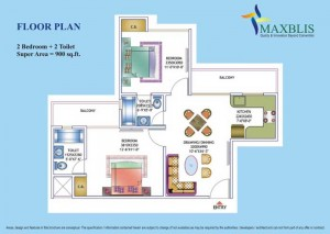 maxblis white house floor plan 2 Bhk 2Toilet 900 sqr ft