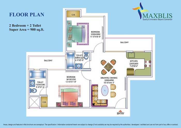 maxblis white house floor plan 2 Bhk 2Toilet 900 sqr ft