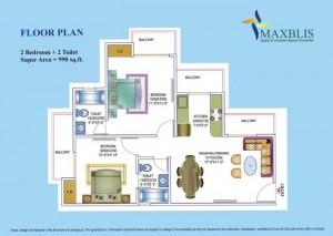 maxblis white house floor plan 2 Bhk 2Toilet 990 sqr ft