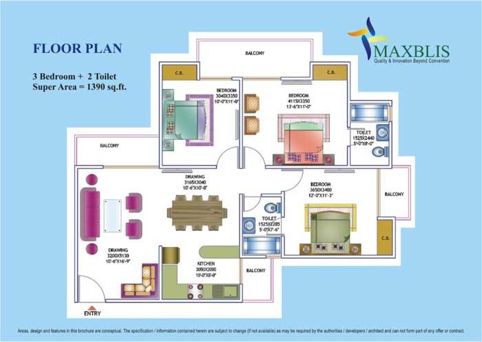 maxblis white house floor plan 3 Bhk 2Toilet 1390 sqr ft