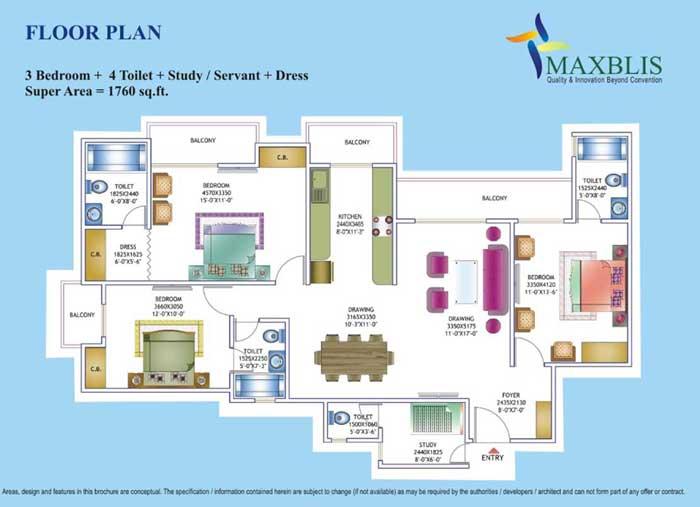 maxblis white house floor plan 3 Bhk 4Toilet 1760 sqr ft