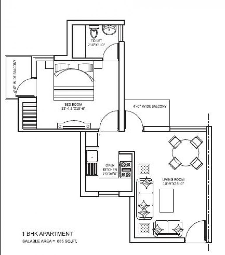 orris curio city floor plan 1bhk 1toilet 685 sqft