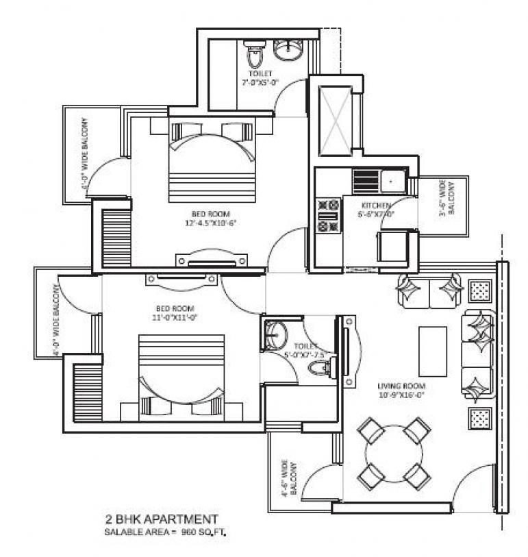 orris curio city floor plan 2bhk 1toilet 960 sqft