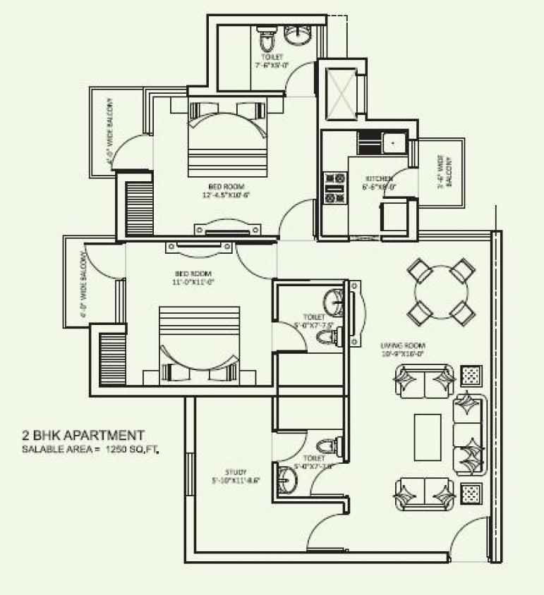 orris curio city floor plan 2bhk 3 toilet 1250 sqft
