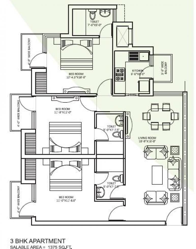 orris curio city floor plan 3bhk 3toilet 1375 sqft