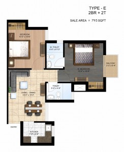 paras seasons floor plan 2 bhk 795 sq ft