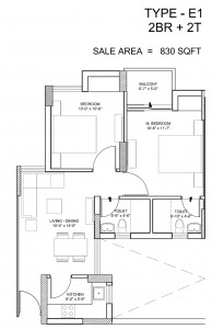 paras seasons floor plan 2 bhk 830 sq ft