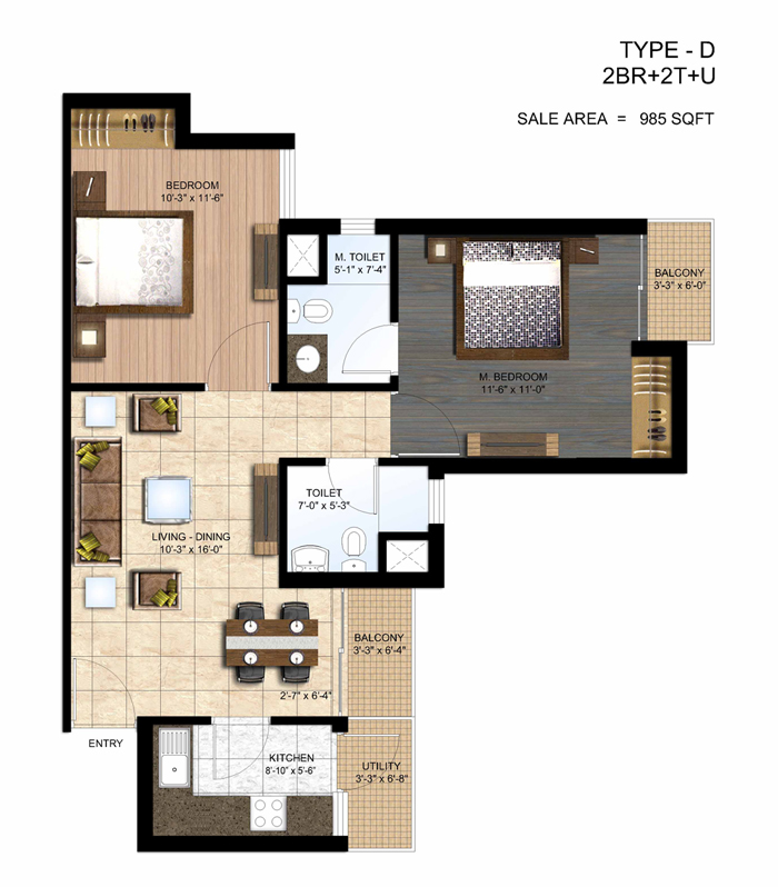 paras seasons floor plan 2 bhk 985 sq ft