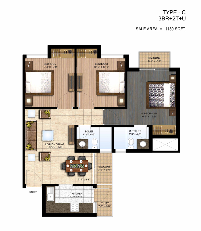 paras seasons floor plan 3 bhk 1130 sq ft