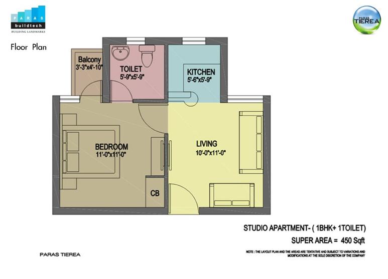 paras tierea 1bhk 1toilet 450 sqr ft floor plan